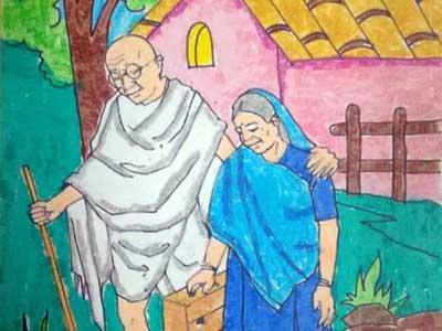 Prize Winning Drawings Gandhi Jayanti Competitions 2017