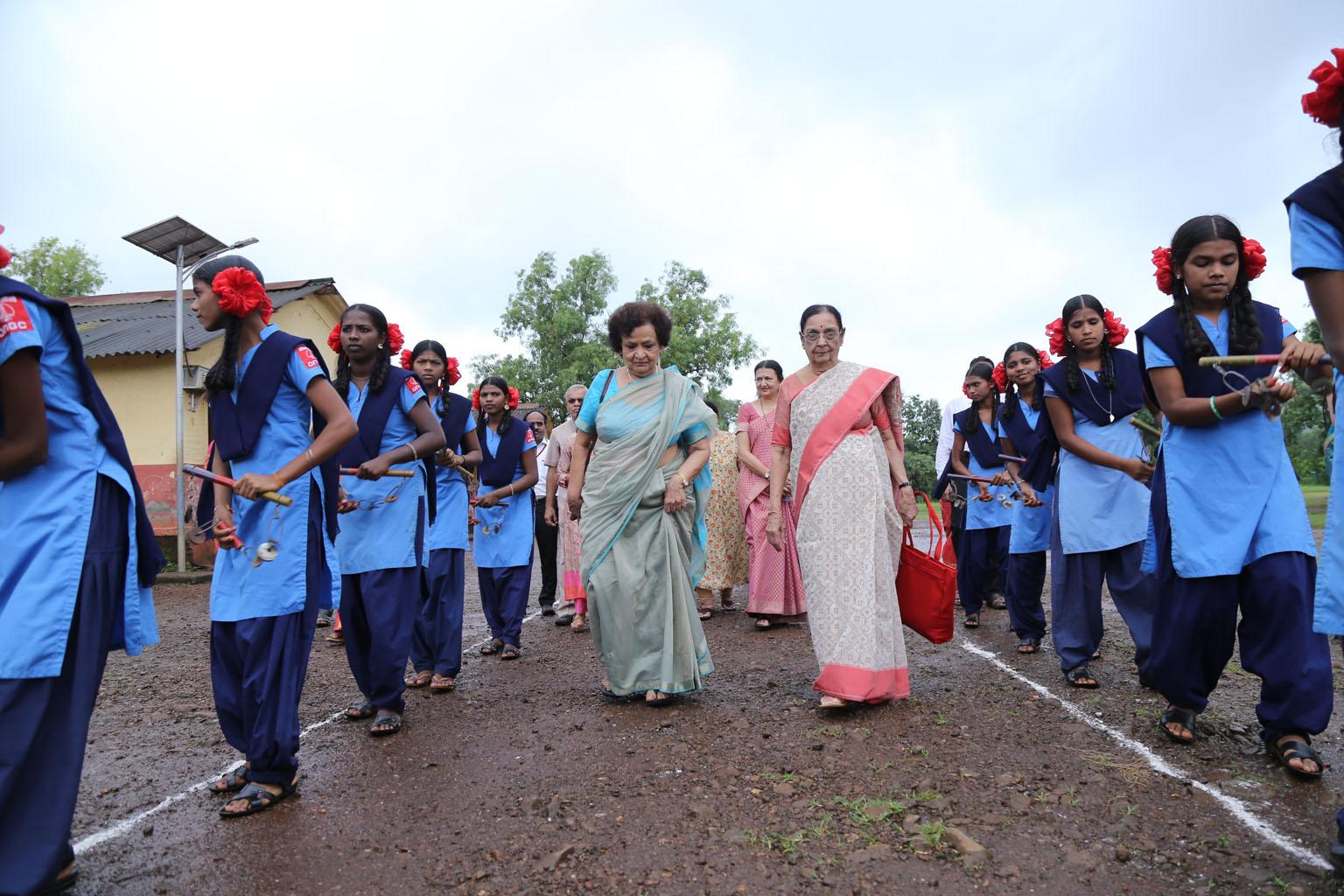 Ashramshala students Welcoming guests with Lezims